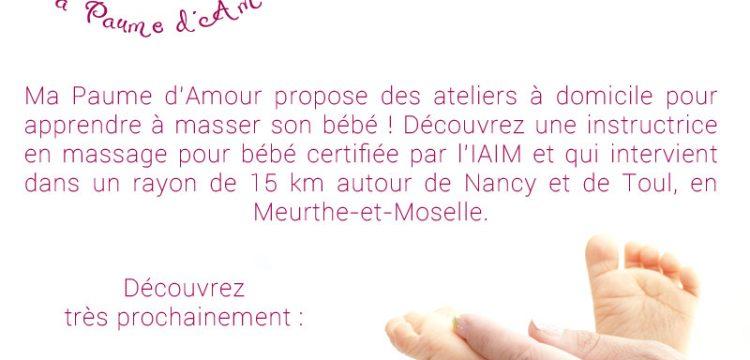 Ateliers à domicile pour apprendre à masser son bébé, Nancy, Toul, Meurthe-et-Moselle